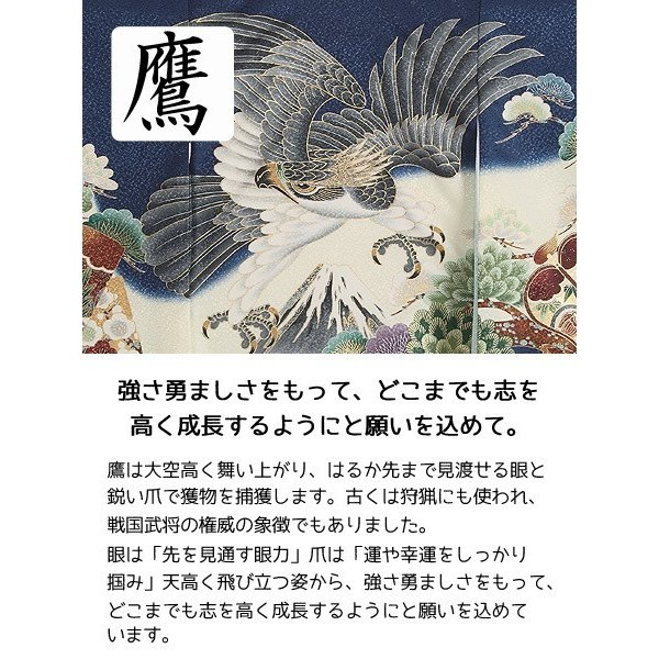 お宮参り レンタル着物 産着 男の子初着 B94 紺地 富士に鷹兜|kyotokikuya|08