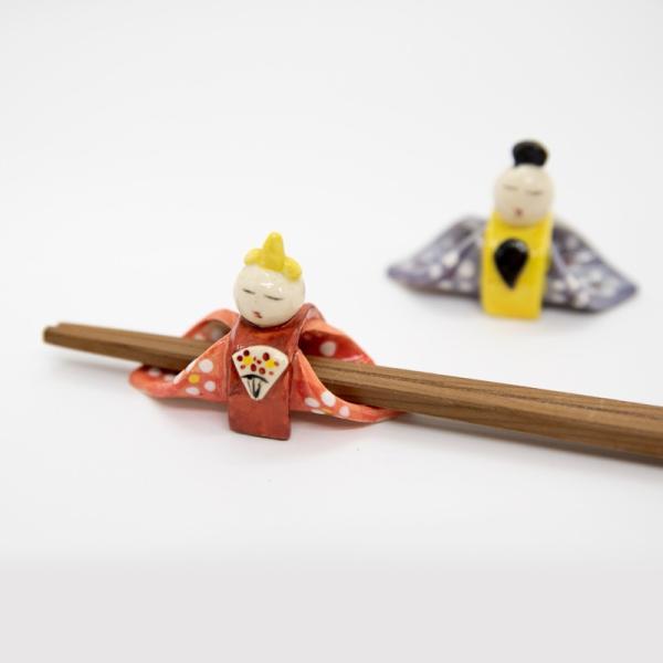 お中元 箸置き 雛 雛人形 インテリア 大人 陶器 おしゃれ ペア 飾り 手作り 和食器|kyotomarche|02