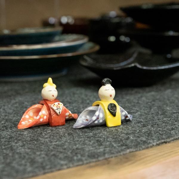 お中元 箸置き 雛 雛人形 インテリア 大人 陶器 おしゃれ ペア 飾り 手作り 和食器|kyotomarche|04