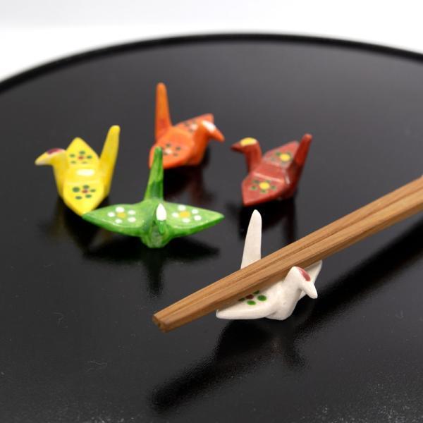 清水焼 京焼 箸置き 折り紙 手作り 5個 セット 和 五色折鶴 陶器  和食器|kyotomarche|02
