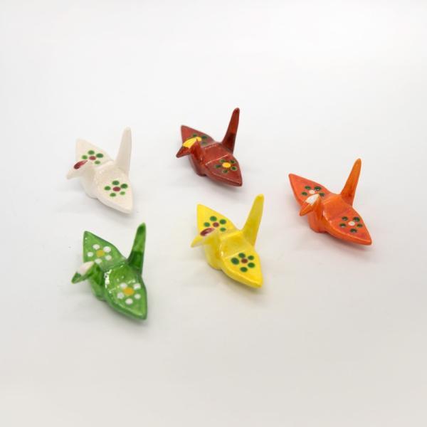 清水焼 京焼 箸置き 折り紙 手作り 5個 セット 和 五色折鶴 陶器  和食器|kyotomarche|03