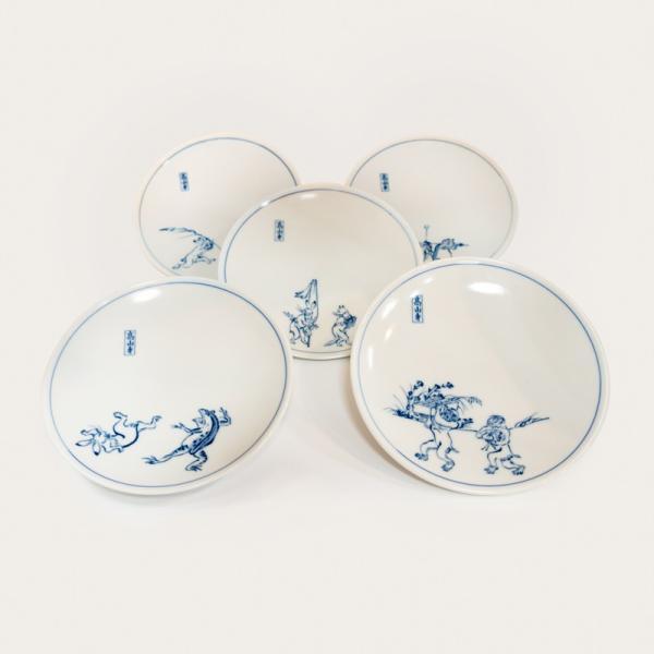 鳥獣戯画 皿 小皿 清水焼 京焼 5枚 セット 和柄 高山寺 4.5寸 銘々皿 陶器 手作り 和食器|kyotomarche