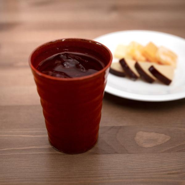 清水焼 京焼 抹茶 京都市 ビアカップ 陶器 柿釉 手作り 和食器|kyotomarche|02