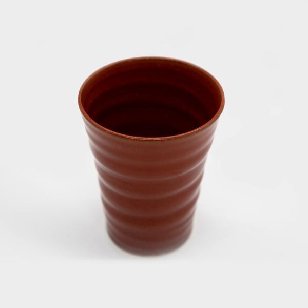 清水焼 京焼 抹茶 京都市 ビアカップ 陶器 柿釉 手作り 和食器|kyotomarche|03