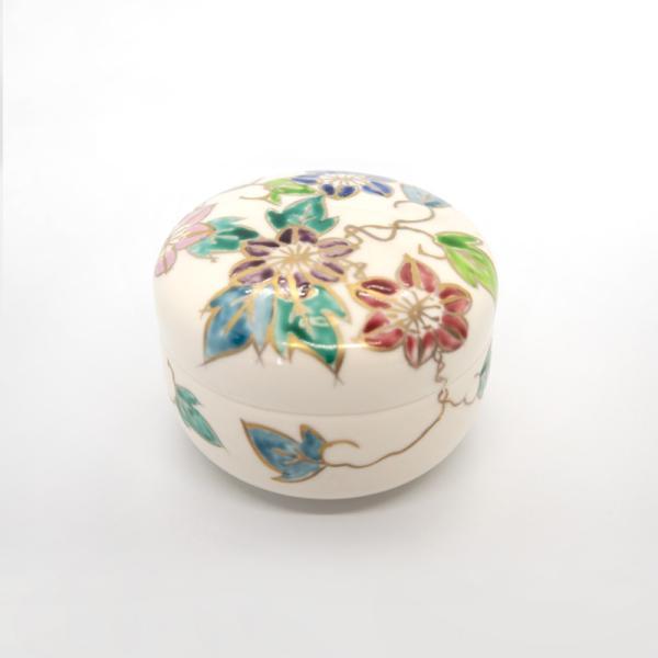 清水焼 京焼 薬味入れ かわいい 花 花柄 丸蓋物 鉄線蓋物 陶器 手作り|kyotomarche