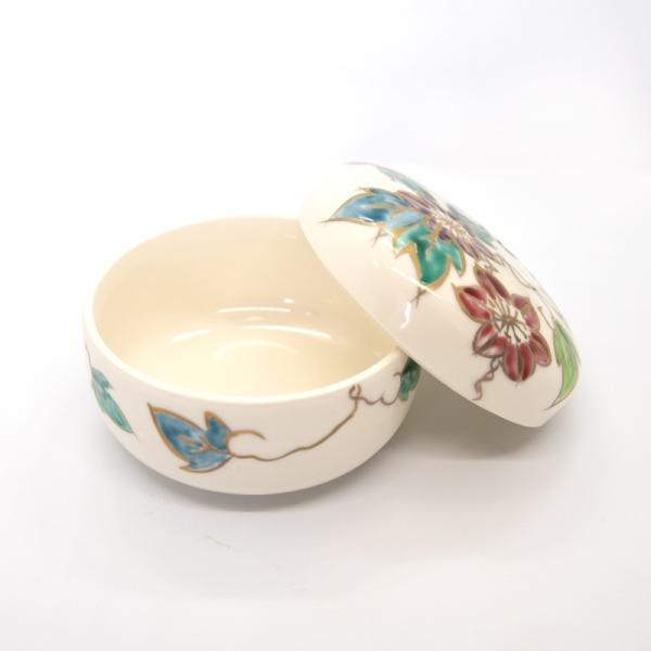 清水焼 京焼 薬味入れ かわいい 花 花柄 丸蓋物 鉄線蓋物 陶器 手作り|kyotomarche|03