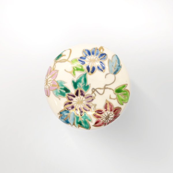 清水焼 京焼 薬味入れ かわいい 花 花柄 丸蓋物 鉄線蓋物 陶器 手作り|kyotomarche|04
