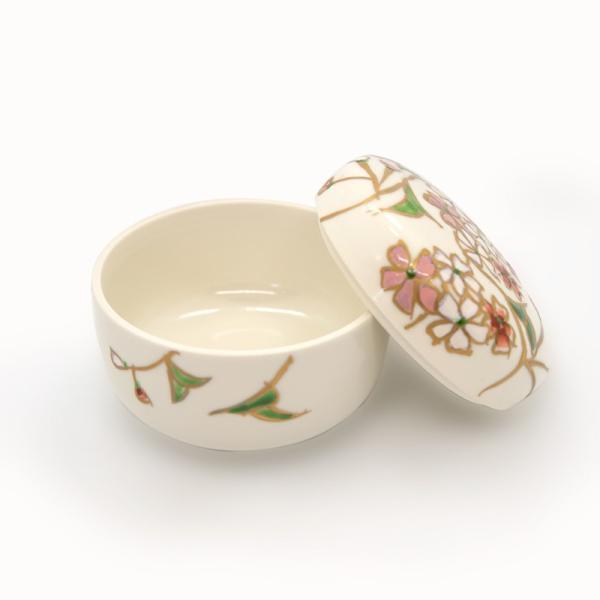 清水焼 京焼 薬味入れ かわいい 花 花柄 丸蓋物 桜蓋物(小) 陶器 手作り|kyotomarche|03