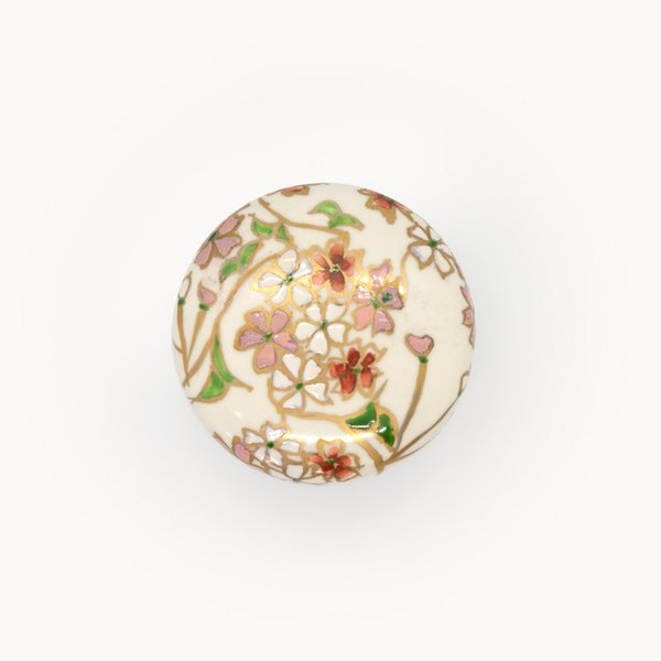 清水焼 京焼 薬味入れ かわいい 花 花柄 丸蓋物 桜蓋物(小) 陶器 手作り|kyotomarche|04