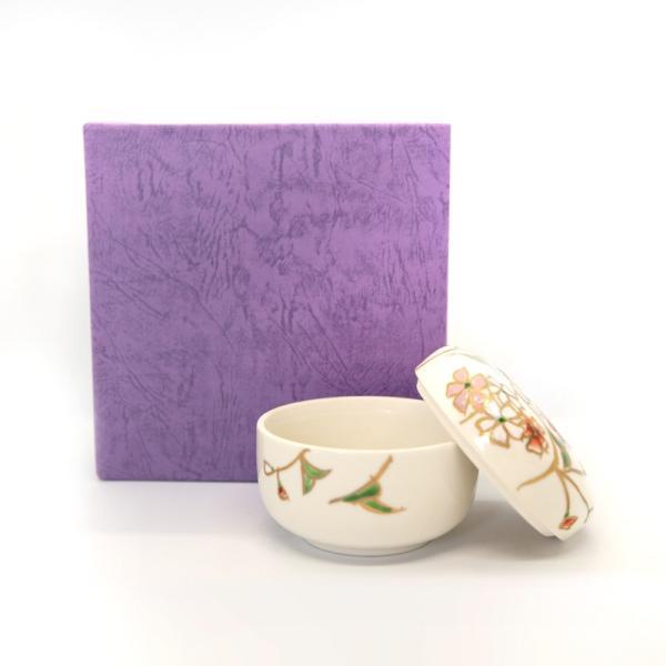清水焼 京焼 薬味入れ かわいい 花 花柄 丸蓋物 桜蓋物(小) 陶器 手作り|kyotomarche|05