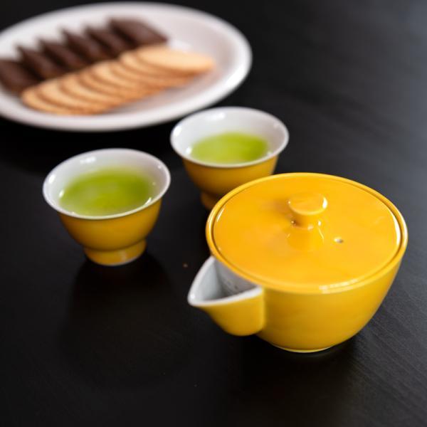 お中元 高島慎一 洸春窯 清水焼 京都 交趾 宝瓶 黄色 緑色 煎茶碗 陶器|kyotomarche