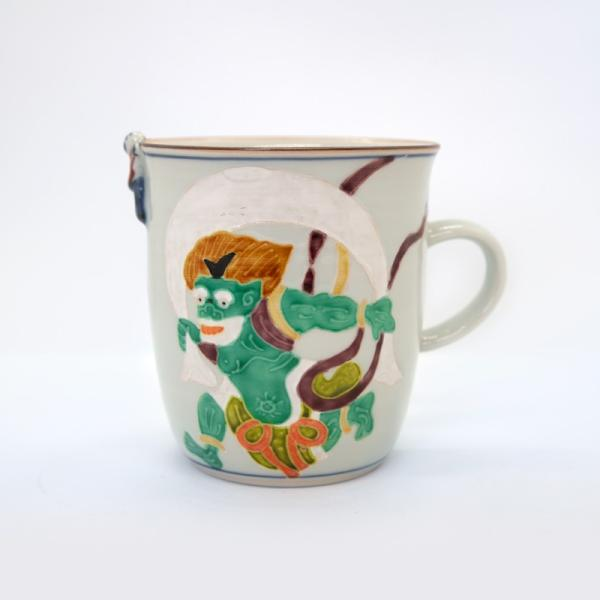清水焼 京焼 マグカップ 和風 一珍風神マグカップ 陶器 和食器|kyotomarche