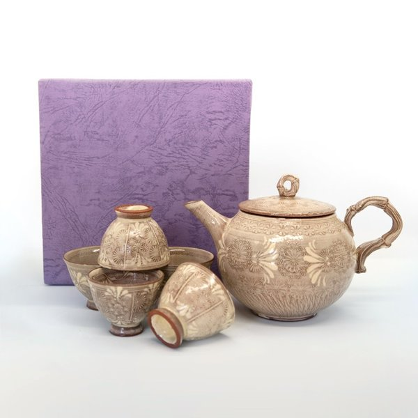 清水焼 京焼 ティーセット 石瓶 急須 紫三島煎茶器 陶器 手作り 和食器|kyotomarche|08