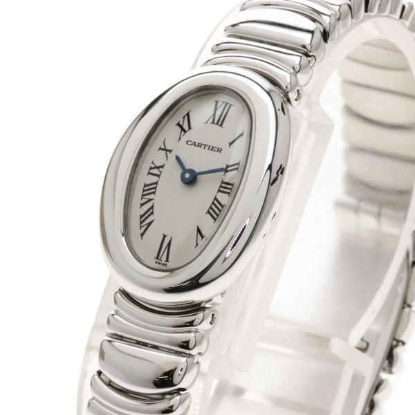 カルティエ ミニ ベニュワール 腕時計 K18ホワイトゴールド K18WG レディース  中古