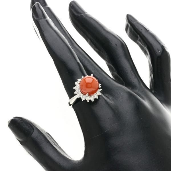 サンゴ 珊瑚 ダイヤモンド リング・指輪 プラチナPT900  中古 SELECT JEWELRY セレクトジュエリー