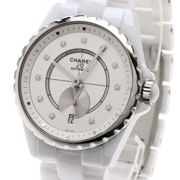 f77ec8ab1337 ... シャネル H4345 J12 11Pダイヤモンド 腕時計 セラミック セラミックxSS メンズ 中古|kyounokura| ...