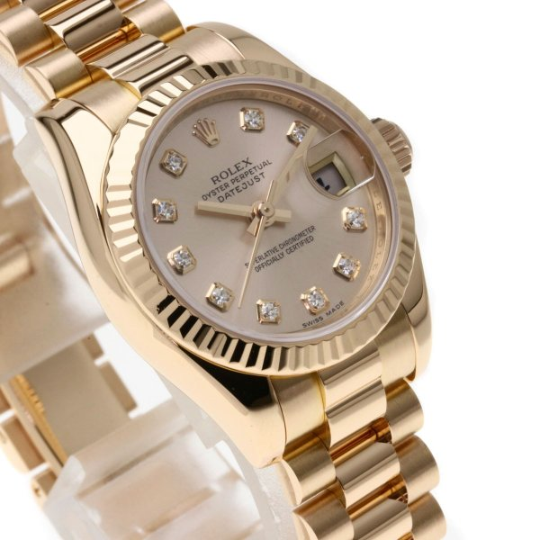 ROLEX ロレックス 179175G デイトジャスト 10Pダイヤモンド 腕時計  K18ピンクゴールド/K18PG レディース  中古