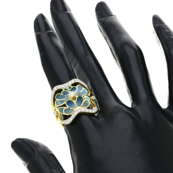 MASRIERA マリエラ エナメル ダイヤモンド エレガントライン リング・指輪K18イエローゴールド レディース 中古