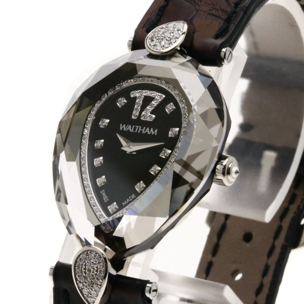 WALTHAM ウォルサム LB34 レディーバローダ ダイヤモンド 腕時計  K18ホワイトゴールド/革 レディース  中古
