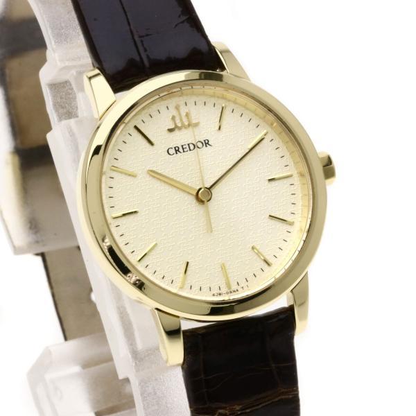 SEIKO セイコー GTAS012 クレドール 腕時計  K18イエローゴールド/クロコダイル レディース  中古