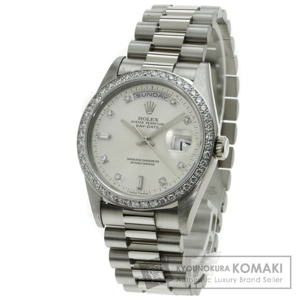 promo code 10fb2 ccd5f ROLEX ロレックス 18349A デイデイト 腕時計 K18ホワイトゴールド ダイヤモンド メンズ 中古