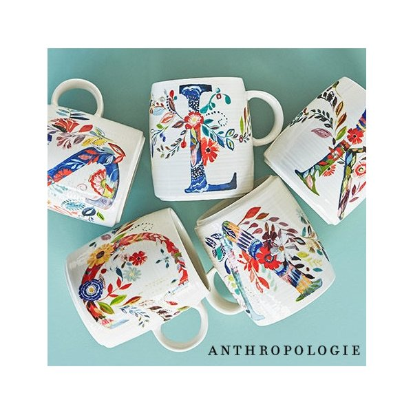 ANTHROPOLOGIE アンソロポロジー イニシャルマグ マグカップ Petal Palette Monogram Mug|kyouto-bluelapin