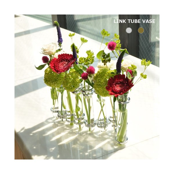 ダルトン 花器 フラワーベース LINK TUBE VASE SILVER 花瓶  DULTON