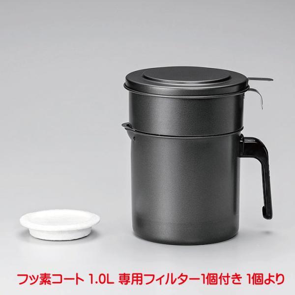 オイルポットKWP-1.0活性炭フッ素コート活性炭油ろ過ポットW1.0L活性炭ろ過オイルポットおしゃれフィルターフッソ樹脂加工4