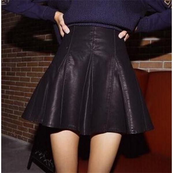 人気急上昇! スカート ミニ 膝丈 フレアスカート PU レザー ハイウエストスカート 着痩せ レディース 上品 OL 通勤 オフィス|kyouwaya