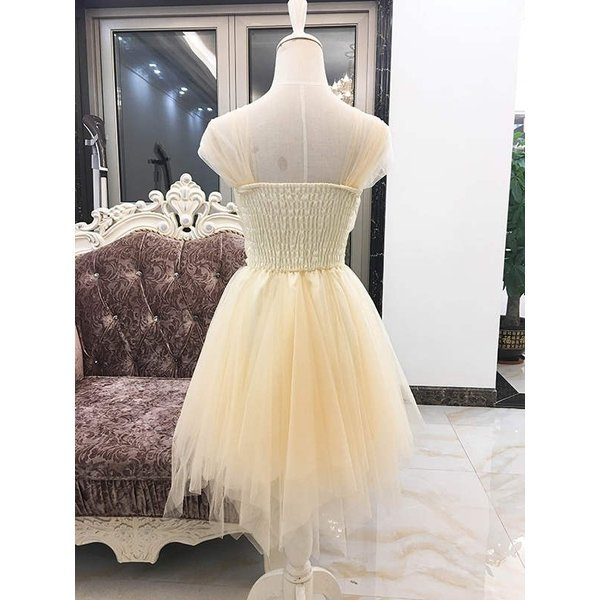 ウェディングドレス パーティードレス 二次会 お呼ばれ リボン ミニ 花嫁 半袖 ショートドレス 膝丈 大きいサイズ ふんわり 結婚式 披露宴 ワンピース|kyouwaya|11