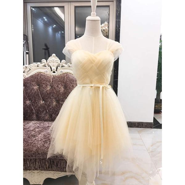 ウェディングドレス パーティードレス 二次会 お呼ばれ リボン ミニ 花嫁 半袖 ショートドレス 膝丈 大きいサイズ ふんわり 結婚式 披露宴 ワンピース|kyouwaya|10