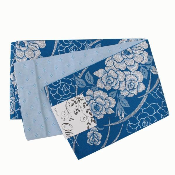 女性用 浴衣帯 リバーシブル 半巾帯 レディース 【ネコポス対応】 ブルー系 ゆかた おび 203 kyouya