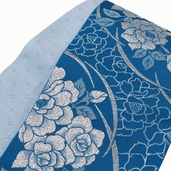 女性用 浴衣帯 リバーシブル 半巾帯 レディース 【ネコポス対応】 ブルー系 ゆかた おび 203 kyouya 02