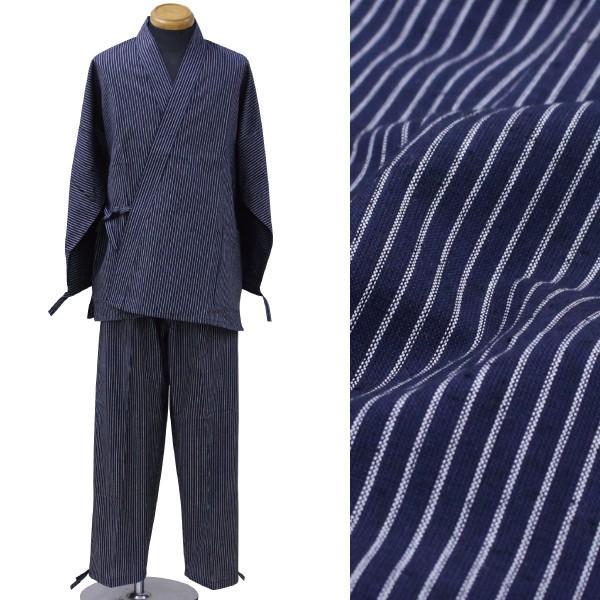 日本製 久留米 本作務衣 男性 メンズ 紳士 さむえ 紺 縞|kyouya|02