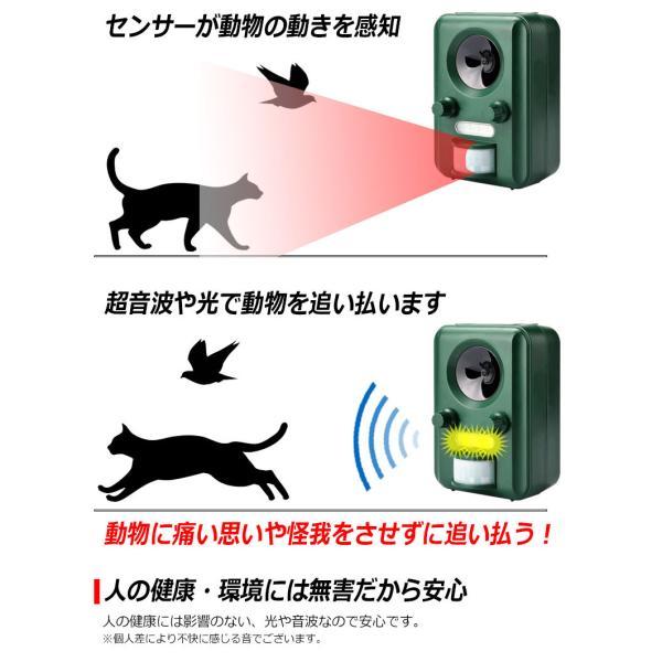 --2個セット-- 音波 光で 動物 よせつけない アニマルガーディアン 害獣 追い払う 動物避け ソーラー式 太陽光パネル 防滴 猫 犬 ネズミ キツネ 鳥|kyplaza634s|07