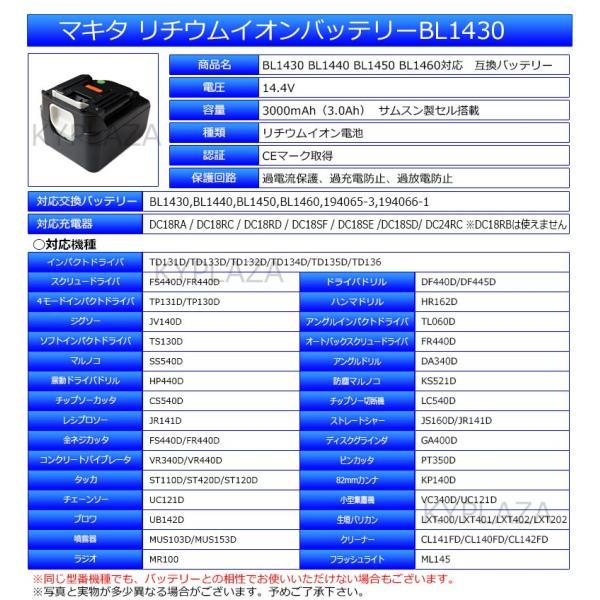 --2個セット-- マキタ makita バッテリー リチウムイオン電池 BL1430対応 互換14.4V サムソン セル 1年保証 kyplaza634s 02