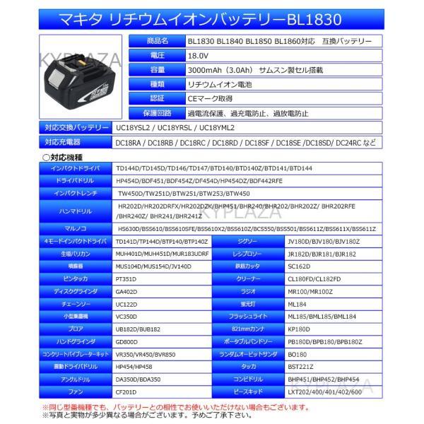 マキタ makita バッテリー リチウムイオン電池 BL1830 対応 互換 18V 高品質 サムソン サムスン 製 セル採用 1年保証 kyplaza634s 02