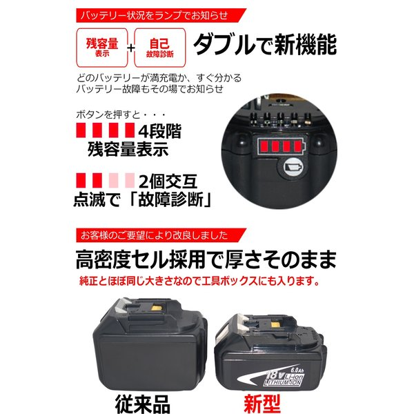 マキタ makita バッテリー リチウムイオン電池 BL1860B 対応 互換 18V 高品質 サムソン サムスン 製 セル採用 6000mAh 残容量表示 自己故障診断機能 1年保証|kyplaza634s|03