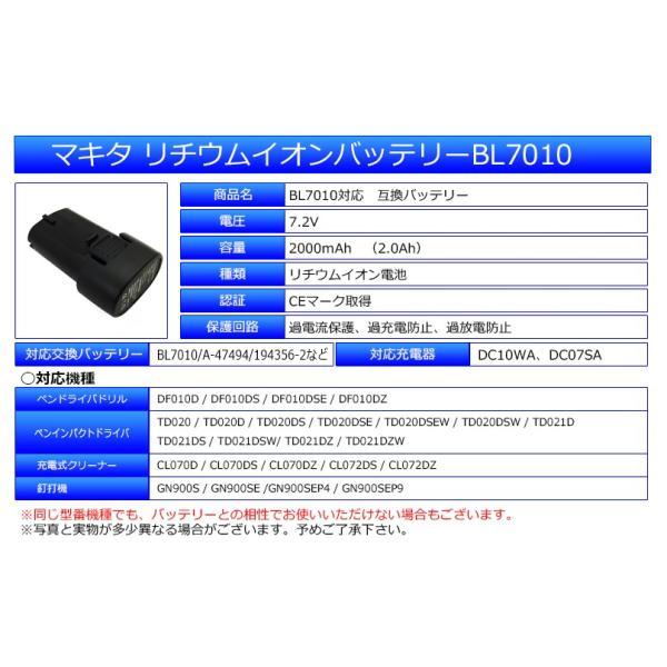 --2個セット-- マキタ makita バッテリー リチウムイオン電池 BL7010 対応 互換7.2V 2000mAh 工具用バッテリー 高品質 サムソン サムスン 製 セル採用 1年保証|kyplaza634s|02