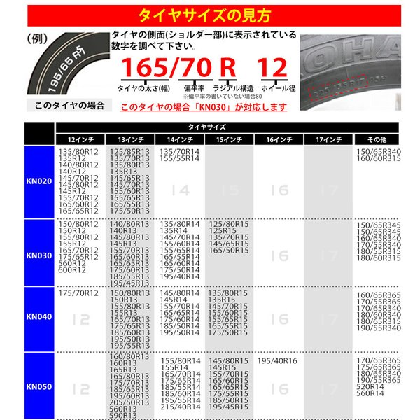 タイヤチェーン 亀甲型 KN030 155/70R13 165/70R12 155/65R14 165/60R13 等 ジャッキアップ不要 12mm 簡単 取付 スノーチェーン 日本語 説明書 30 KNO30|kyplaza634s|06