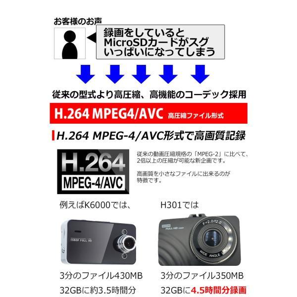 SONY製 センサー ドライブレコーダー ドラレコ あおり運転 WDR F2.0 レンズ Gセンサー HDMI 出力 K6000 よりキレイ 駐車場監視 日本語 マニュアル付属 前後|kyplaza634s|06
