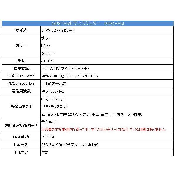 USB/SD・FMトランスミッター PIPO-FM MP3/WMA対応 USB/SDスロット付き 12/24V車対応|kyplaza634s|04