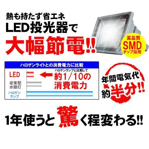 LED投光器 30W 300W相当 昼光色 6000K AC 明るい 防水加工 3mコード付 2個セット|kyplaza634s|03
