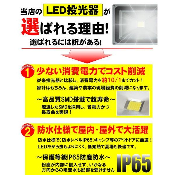 LED投光器 30W 300W相当 昼光色 6000K AC 明るい 防水加工 3mコード付 2個セット|kyplaza634s|04