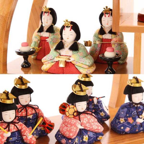雛人形 ひな人形 雛 木目込人形 一秀 丸窓F 十五人飾|kyuhodo|06