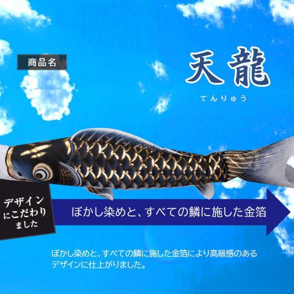 鯉のぼり こいのぼり ベランダ 天龍 1.2m 家紋入れ・名前入れ可能吹流し|kyuhodo|03