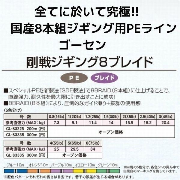 ゴーセン 剛戦ジギング 8ブレイド(8本組)200m 1.2号 25LB 国産8本組PEライン