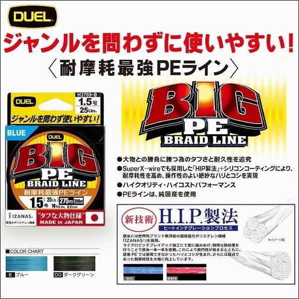 DUEL  デュエル BIG PE 5号 80LB 275m DG ダークグリーン H3774 日本製 国産8本組PEライン ヨーヅリ