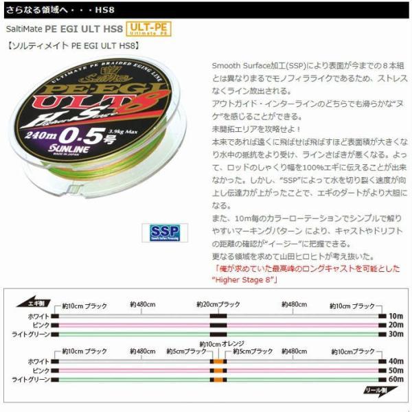 サンライン ソルティメイト PE EGI(エギ) ULT HS8 0.6号 180m 国産8本組PEライン