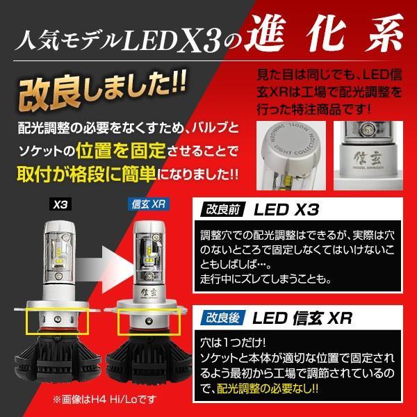 LED H4 バイク 1灯式用 3000LM LEDヘッドライト 信玄 XR 車検対応 2年保証 配光調整ナシで簡単取付 3000K 6500K 8000K 10000K 12V 24V|l-c|03